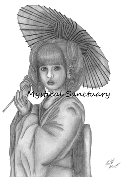 Japanese Girl in Kimono Pencil Drawing by ChiiLissa
