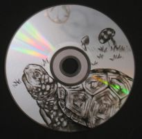 Turtle carved on CD by ArtCrazy24-7
