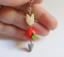 Hunger Games apple and arrow pendant from NeatEats by rhonda4066