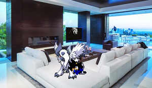 Playing with Mega Absol by Kaisertheblade