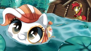 Pebbles' first swimming lesson by pepooni