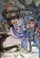 Commission: Snowman by sharkie19