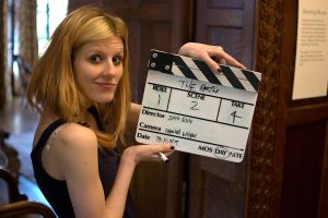 Shelbie with Clapperboard by RGAllanPhotography