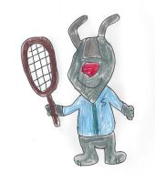 Saul Sheepdog with a tennis racquet by dth1971