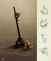 Some ink frogs by fablau