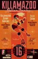 KILLAMAZOO DERBY DARLINS Feb 2013 Poster by PaulSizer