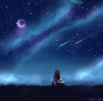 Night Sky practice 1 by Sniggle-Wiggle