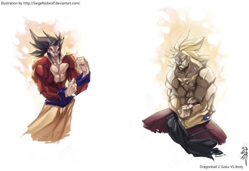 -DBZ- Goku VS Broly Sketches by Meiphon