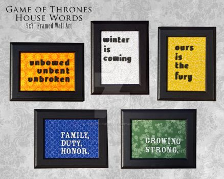 Game of Thrones House Words on Canvas by 3direwolfmoon
