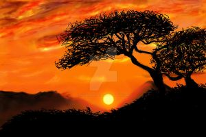African Sunset by DragonNighthowler