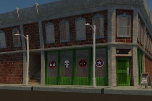 Corner Comic Book Store (Textured) by TheEvilNae