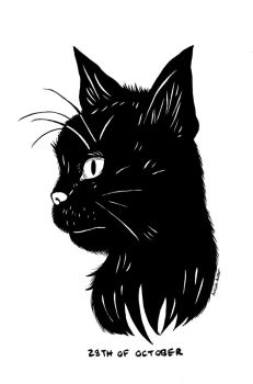 Inktober and Drawlloween #28: BLACK CAT by naiveplant