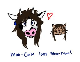 Moo-Cow and Mow-Mow by zombiepencil