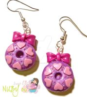 Valentines Donut Earrings by colourful-blossom