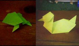 Origami - Frog and Duck by ebonycalypso