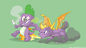 Spyro and Spike the Dragons by RoastedStix