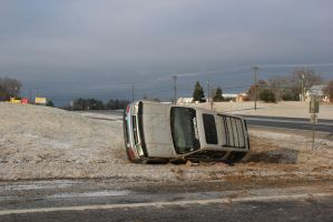 Dude Slid Out of the Road - Ice Storm 2015 by CrystalMarineGallery