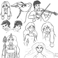Dragon Queen Sketch Dump by InkRose98