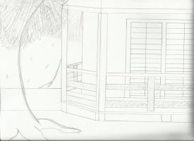 Miwako Tea House Drawing by WolfLover887