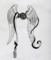 Tattoo design Rose+Wings+Lighter+Ribbons by Laetishaa