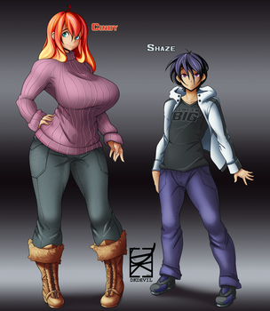 Cindy and Shaze Character Design Commission by DKDevil