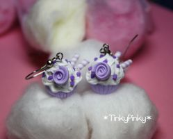 violet rose cupcake earrings by tinkypinky