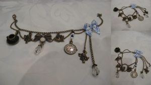 Alice's adventure charm bracelet, white by assassin-kitty