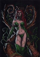 poison ivy on black by LucaStrati