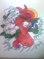 Koi fish with flowers, sunset and waves by gbftattoos