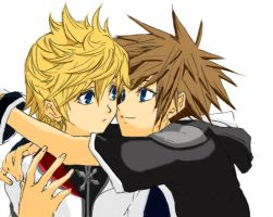 Colouring - Roxas Sora KH2 by Azure-Kire
