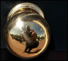 Self-portrait in a door handle by SUDOR