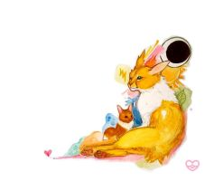 Jolteon and Eevee by PokeShoppe