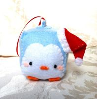 Blue Penguin Christmas Ornament by PinkChocolate14