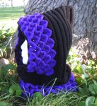 Dragon-Scale Crocheted Hood Black/Amethyst by Arexandria
