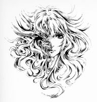 Masquerade - Pure Brush inking by Lilaccu