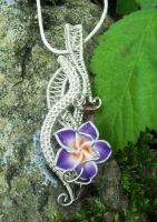 Wire wrapped plumeria flower pendant silver by Toowired