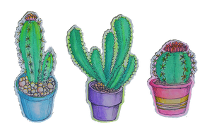 cacti stickers by flowwwer
