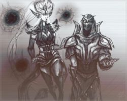 Syndra and Zed by Slipmaskin