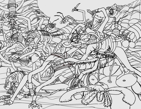 Insectoid Battle WIP 2 by frazamm