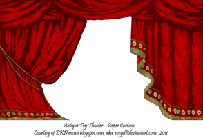 Red Toy Theater Curtain by EveyD