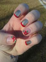 Poinsettia Nail Art by ineedacat9