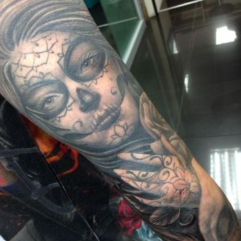 day of the dead girl tattoo sleeve by Craig Holmes by CraigHolmesTattoo