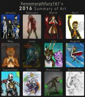 xenomorphfury161's 2016 Summary of Art by xenomorphfury161