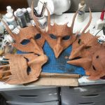 Wolf, Dragon, and Crow Masks WiP by Angelic-Artisan