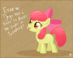 Apple Bloom is recruiting new bronies. by Balloons504