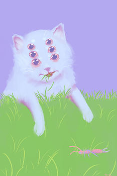 cat eat grasS by StapledSlut