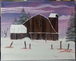 Barn In Snow by Ookiee