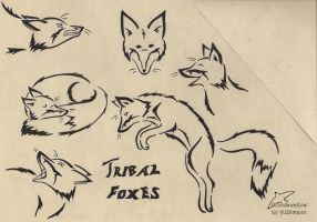 Tribal foxes by Woodswallow