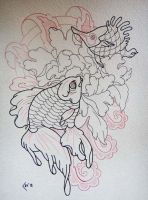 Tattoo design lineart - Gold fish and peony by Xenija88