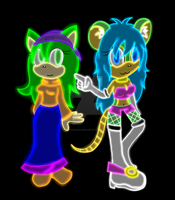 Neon Colors Mona + Lily by DarkSonic250